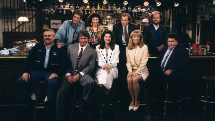 """CHEERS -- """"One for the Road"""" Episode 25 -- Air Date 05/20/1993 -- Pictured: (Top, l-r) Ted Danson as Sam Malone, Rhea Perlman as Carla Tortelli, Woody Harrelson as Woody Boyd, Kelsey Grammer as Dr. Frasier Crane, (Front, l-r) John Ratzenberger as Cliff Clavin, Tom Berenger as Don Santry, Kirstie Alley as Rebecca Howe, Shelley Long as Diane Chambers, George Wendt as Norm Peterson -- Photo by: Paul Drinkwater/NBCU Photo Bank"""