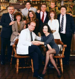 CHEERS -- Pictured: (l-r) John Ratzenberger as Cliff Clavin, Rhea Perlman as Carla LeBec, Roger Rees as Robin Colcord, Kirstie Alley as Rebecca Howe, Kelsey Grammer as Dr. Frasier Crane, Ted Danson as Sam Malone, Bebe Neuwirth as Dr. Lilith Sternin-Crane, Shelley Long as Diane Chambers, Woody Harrelson as Woody Boyd, George Wendt as Norm Peterson-- Photo by: NBCU Photo Bank