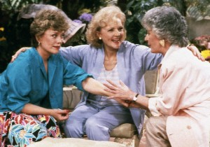 GOLDEN GIRLS -- Season 1 -- Pictured: (l-r) Rue McClanahan as Blanche Devereaux, Betty White as Rose Nylund, Bea Arthur as Dorothy Petrillo Zbornak -- Photo by: Gary Null/NBCU Photo Bank