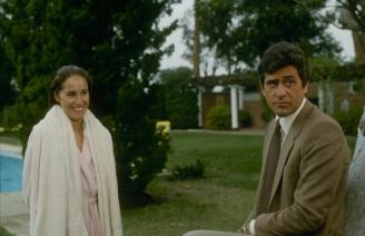 "DYNASTY - ""The Miscarriage"" - Airdate December 16, 1981. (Photo by ABC Photo Archives/ABC via Getty Images) PAMELA BELLWOOD;JAMES FARENTINO"