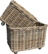 Thick Rattan Rectangular Wheeled Log