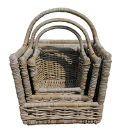 Grey Rattan Log Carrier