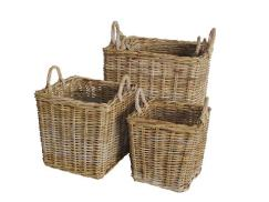 Square Grey Rattan Log Baskets