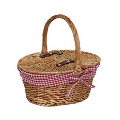 Child's Lined Oval Lidded Hamper - Red