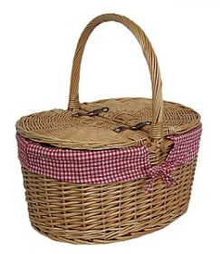 Oval Lidded Hamper - Red Check Lining