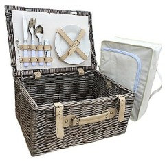 Cream Lined Two Person Hamper with Chiller