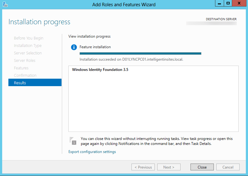 Server 2012 - Adicionar Funções e Featuers Assistente - Windows Identity Foundation 3.5.png - Instale Finish