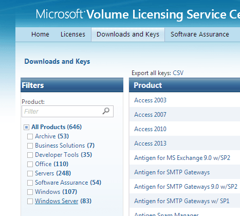 Volume Licensing Service Center - Windows Server
