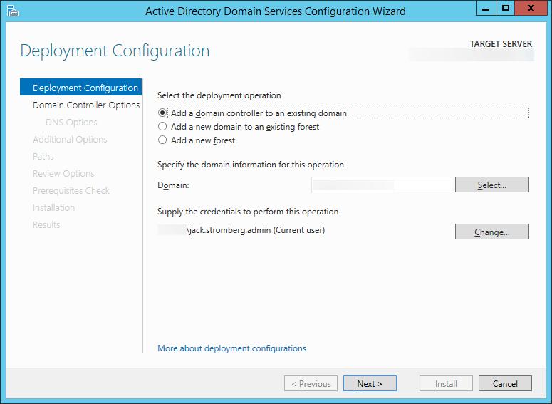 Active Directory Domain Services Configuration Wizard - Deployment Configuration