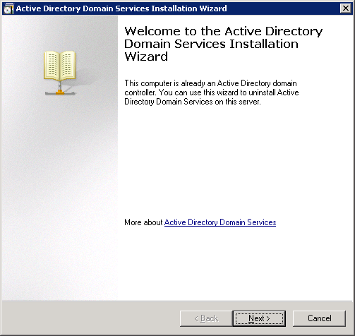Active Directory Domain Services Installation Wizard - Welcome to the Active Directory Domain Services Installation Wizard