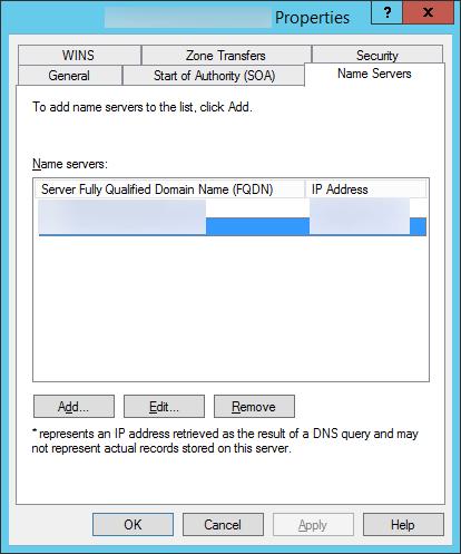 DNS - Properties - Name Servers