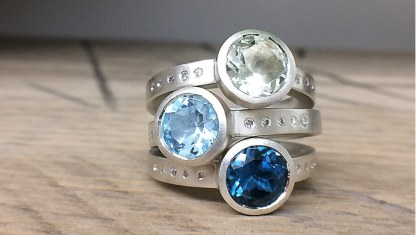 Silver cocktail rings in topaz / green amethyst with diamonds designed by Jacks Turner