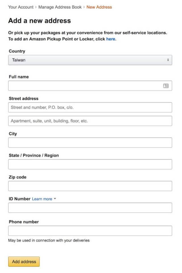 Amazon新增地址
