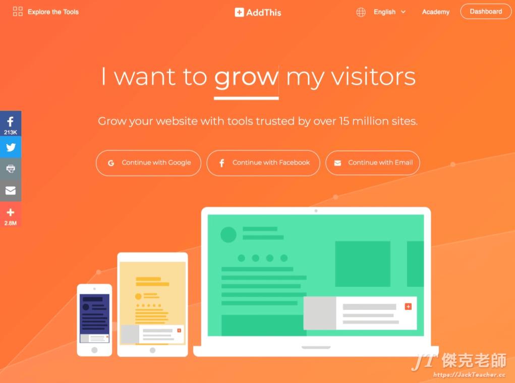 addthis把熱門的臉書、Twitter及Instagram…等社群分享功能直接結合到我們的網站或部落格中