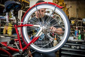 Bike Technician Joel tuning up a bike at our Bike Shop