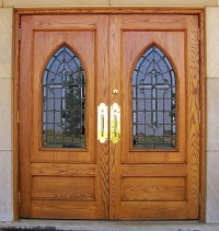 custom doors, stained glass, art glass, wood doors, church ...