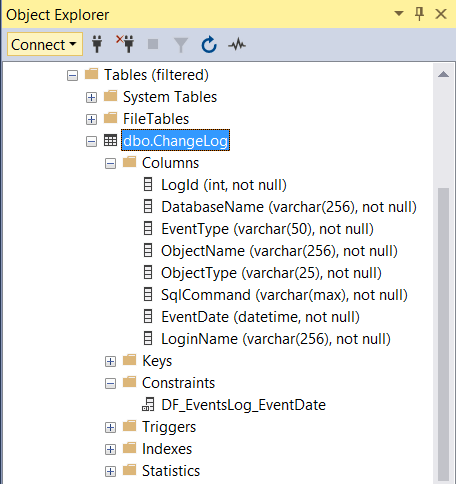 Creating A Log Table To Track Changes To Database Objects In