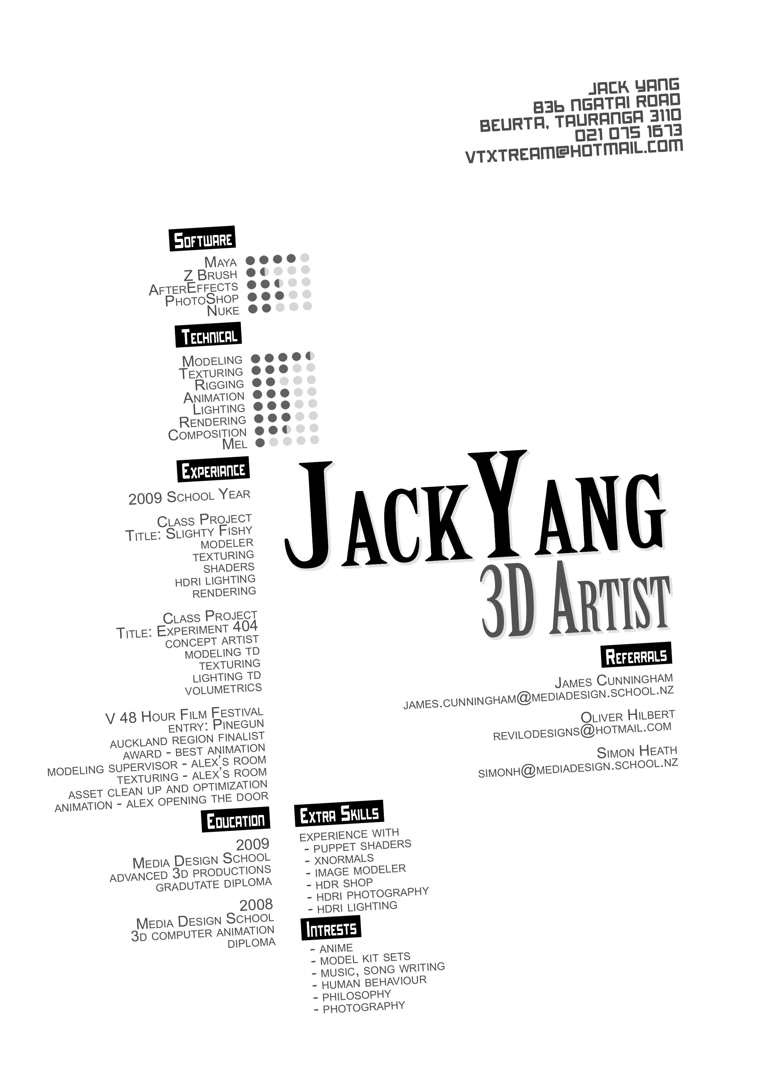 resume jack yang 3d artist