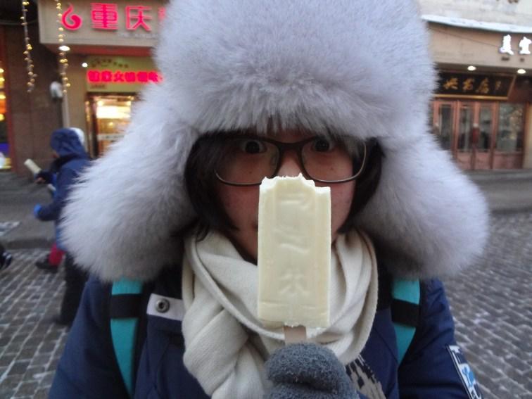 Lois with an ice cream bar.