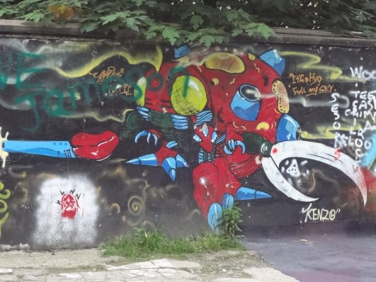 Some graffiti of Tentomon (from Digimon) near the M50 Creative Park.