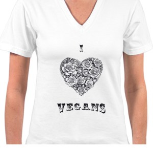 Ladies V-Neck White I Heart Vegans Tee