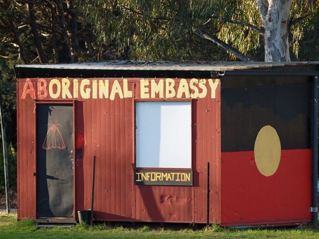 Aboriginal Embassy a symbol of protest of the invasion of Australia and White Australia Policy.