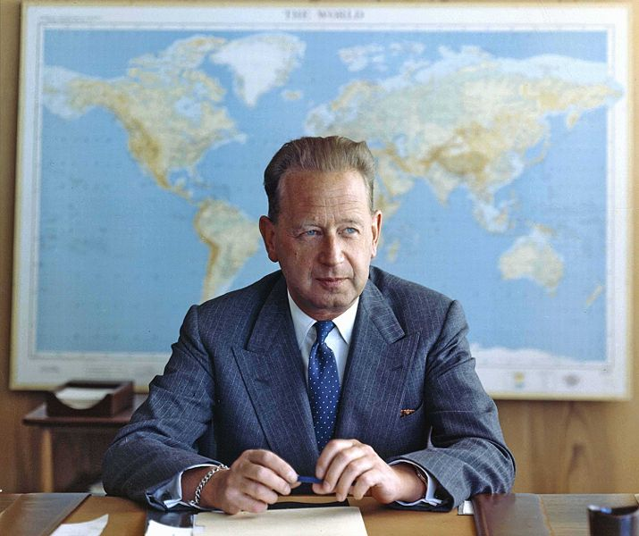 U.N. Secretary-General and Christian mystic Dag Hammarskjöld at his desk