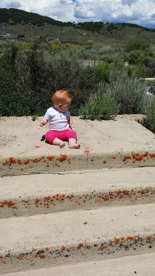 Little Leah at some steps at the Soldier Summit ruins.