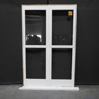 Wooden Double Awning Window With Fixed Pane Bottom Lights