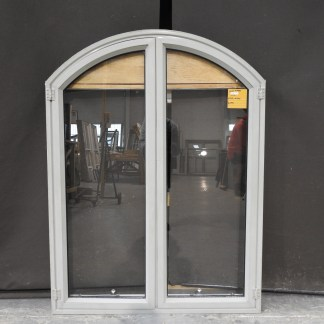 french grey (green'ish) arched aluminium casement window