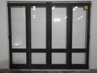 Wooden (Cedar) bi-folding doors in Mist Green Ali' Frame