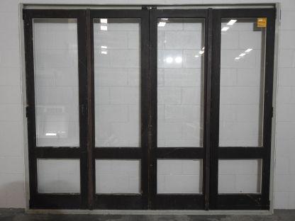 Wooden (Cedar) bi-folding doors in Mist Green Ali' Frame