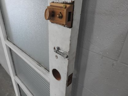 Wooden exterior 4 light door with obscure glass