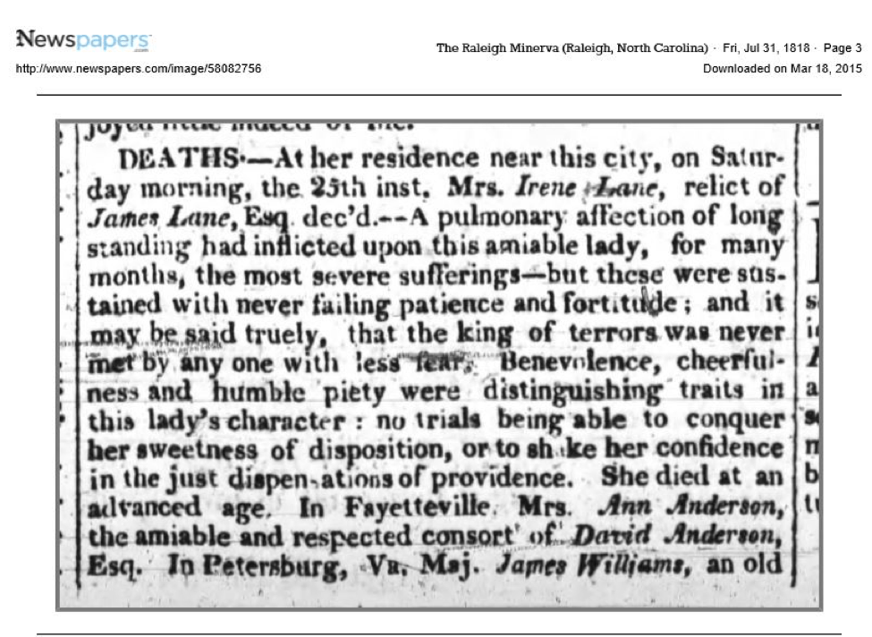 Death of Irene Lane on 23 July 1818 from the Raleigh Minerva