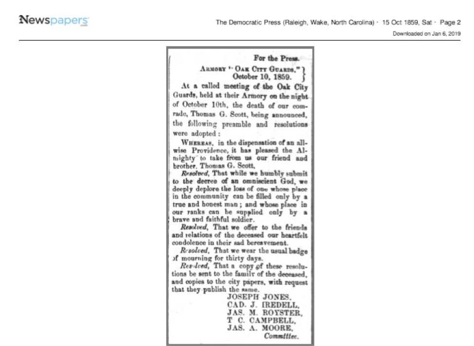 The obit of Thomas G. Scott (Jr.) from the Democratic Press