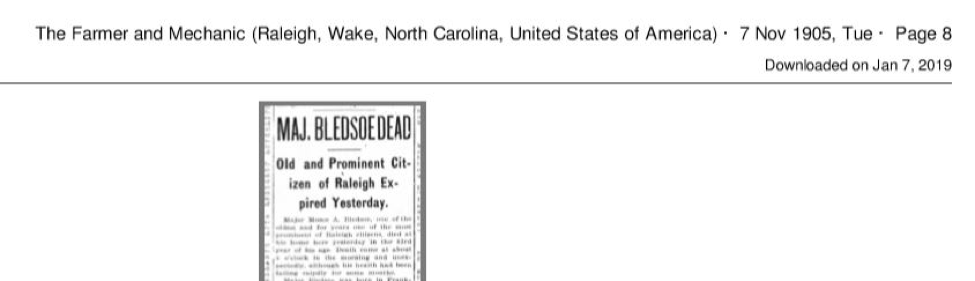Partial obit of Martha G. Hunter's husband, Moses A. Bledsoe