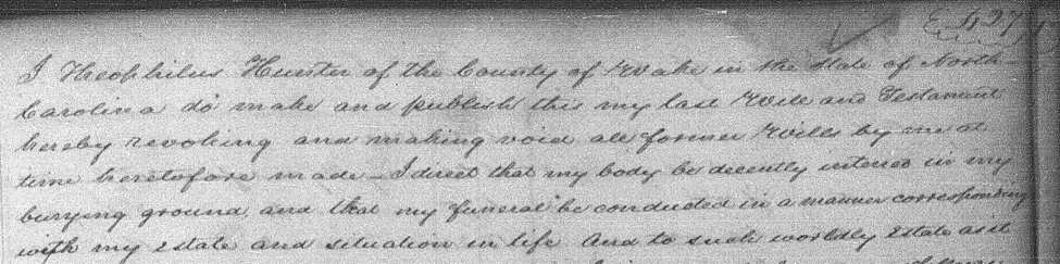 Beginning of the record of Theophilus Hunter Jr.'s will