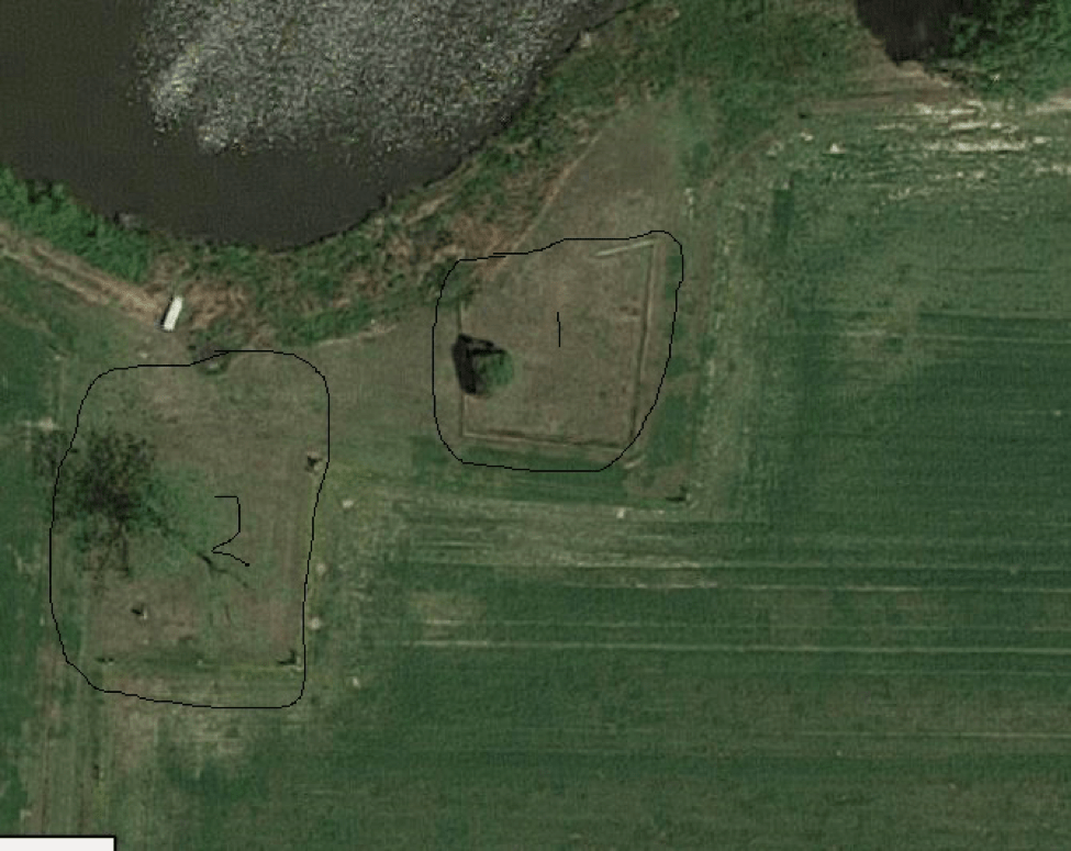 Aerial view of the cemetery plots 1 and 2 from Google Earth