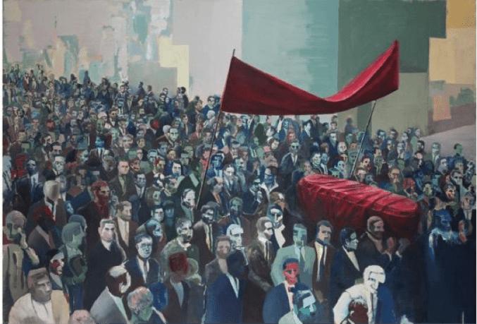 Figura 1. Cortejo fúnebre / Funerales de un nuevo hombre, de Iosu Aramburu (2019). Óleo sobre tela, 150 x 220 cm. Fotografía: Paul Granthon y Marcela Barragán.