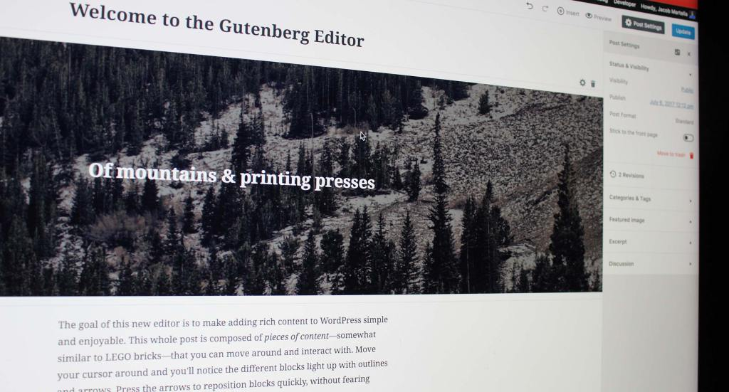 The new Gutenberg editor in WordPress