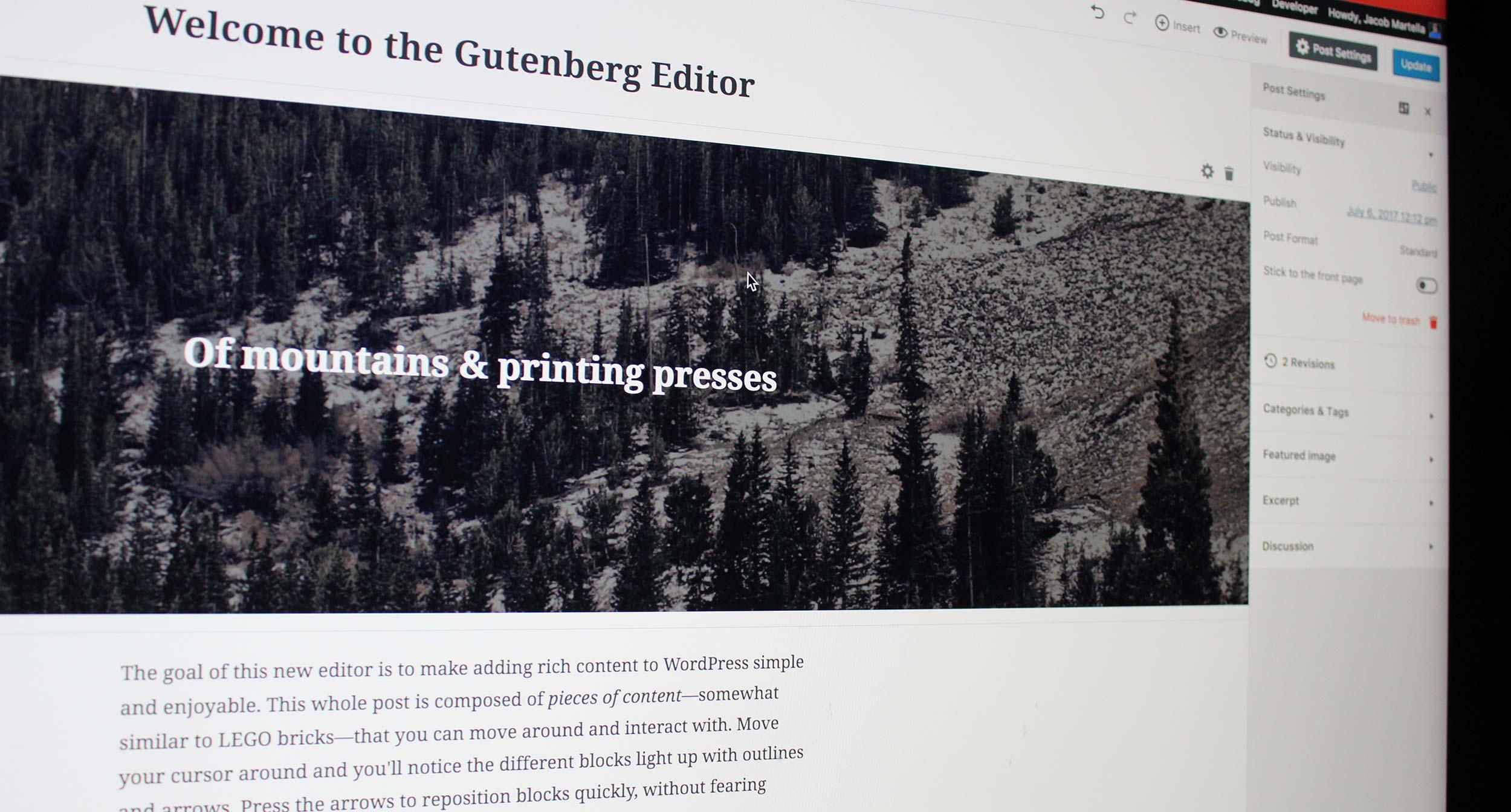 The new Gutenberg editor in WordPress
