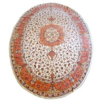 Tabriz Oval Silk and Wool Rug, oriental rugs