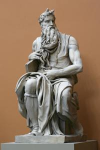 Plaster Cast of Moses after the original marble statue in the tomb of Pope Julius II in the church of S. Pietro in Vincoli, Rome; Michelangelo, 1513-42, cast by Desachy, ca. 1858
