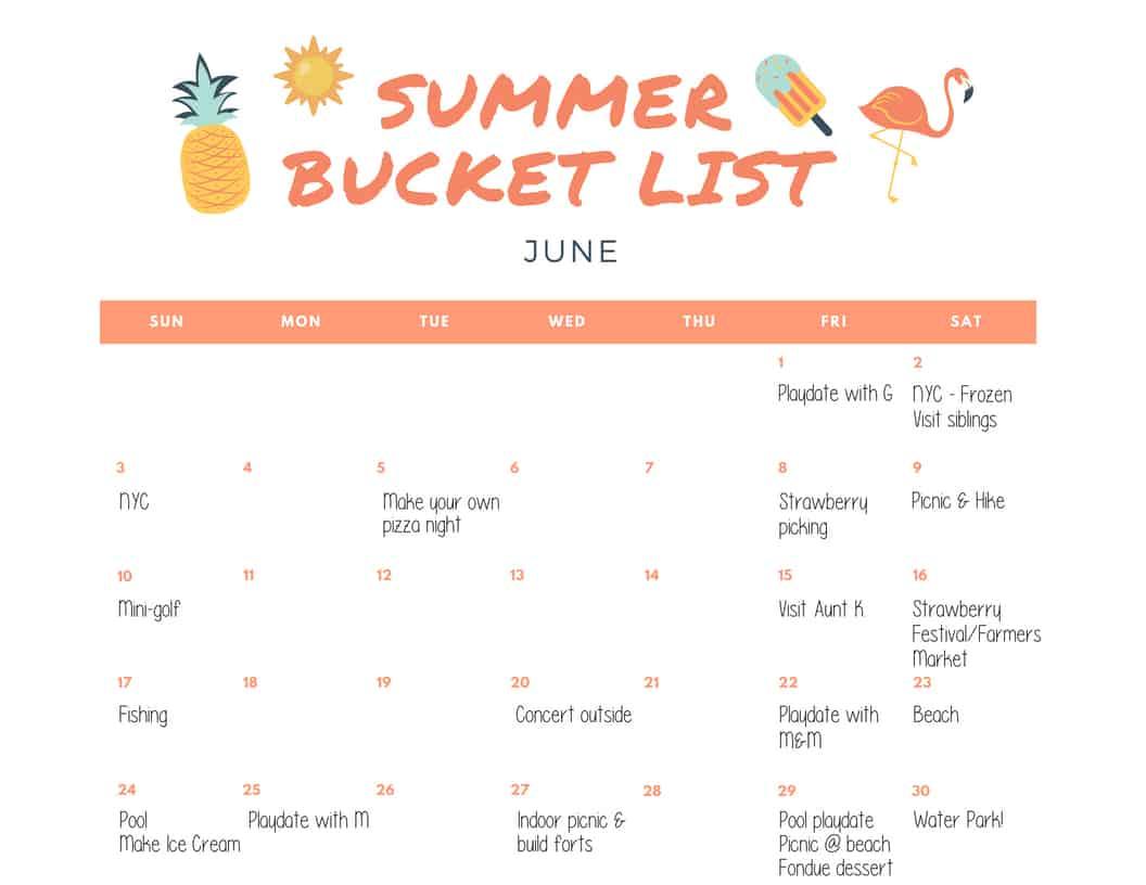 Summer Bucket List Template And Calendar