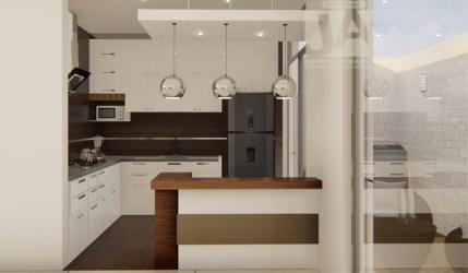 Cocina pequeña con barra desayunadora JA Constructores