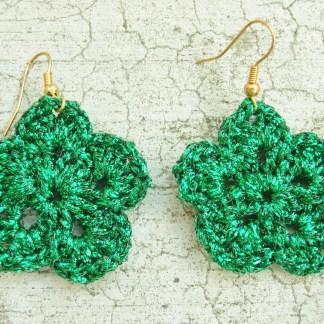 metallic green flower earring