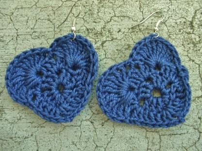 Dark blue crocheted heart earrings