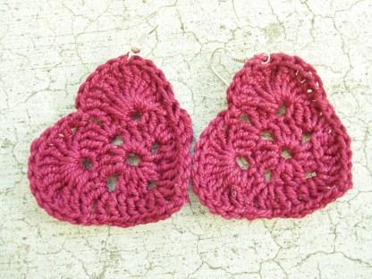 Dark red crocheted heart earrings