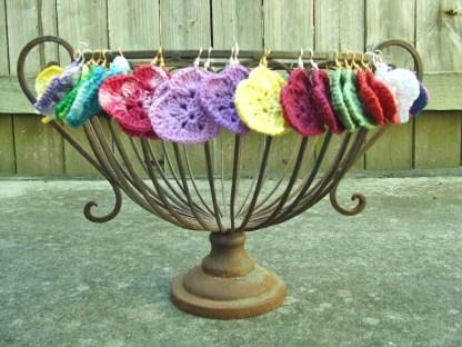 crocheted love heart earrings