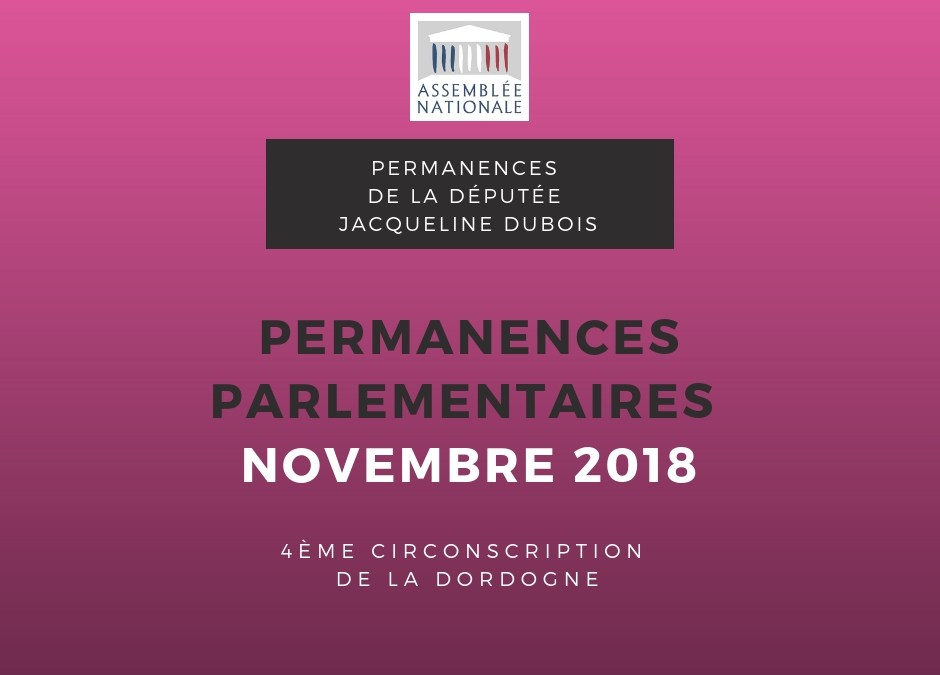 Permanences parlementaires NOVEMBRE 2018